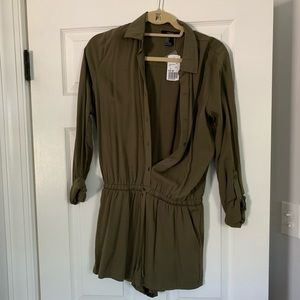 Forever 21 Shorts - Army green button down romper with tie waist.